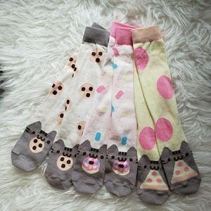 Pusheen Box Set of 3 Mid Calf Cute Kawaii Socks